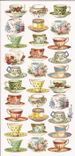 High tea serviesgoed poezieplaatjes Stickers P54