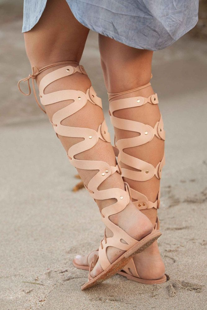 Medusa Gladiator Sandal, Leather Gladiator Sandals, Women's Sandals, Greek Gladiator Sandals,Lace Up Gladiators,Nude Color…