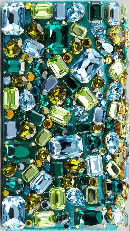 Turquoise Jeweled Satin Clutch Bag by Prada