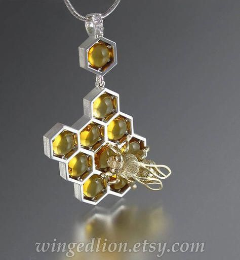 Softer than honey silver and 14k gold bee pendant with citrine & white sapphires ready to ship in honeycomb