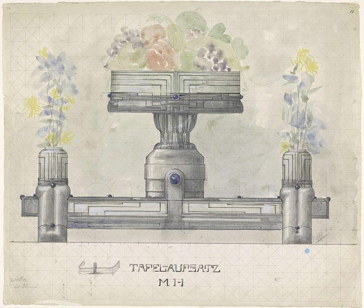 Mathieu Lauweriks | Ontwerp voor een zilveren tafelstuk, versierd met bloemen en fruit, Mathieu Lauweriks, 1874 - 1932 |