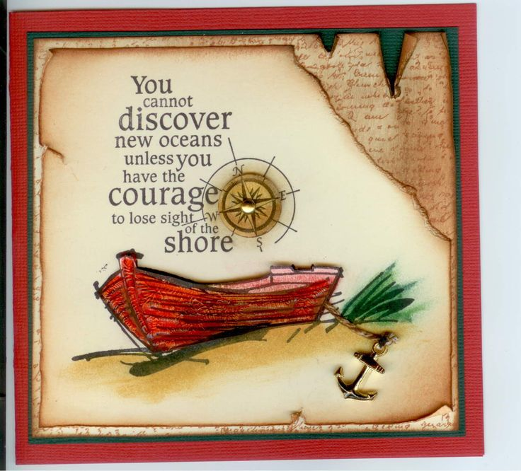 Beached Boat 2724E, Discover Oceans 4881E, Overlapping Text 3601G:  Stamp-it Australia. Card by Susan of Art Attic Studio