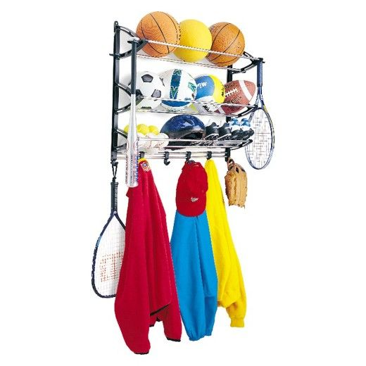 This strong steel and polymer Sports Rack organizes all your sports equipment in one place. The adjustable hooks maximize your hanging space for your gear. Also includes special hooks to hold baseball bats and tennis rackets. Quality steel and polymer construction for durability and strength. Assembly Required. Hardware included. Made in the USA.<br>Lynk offers a complete selection of innovative organizers for your home. We focus on the details and believe that quality…