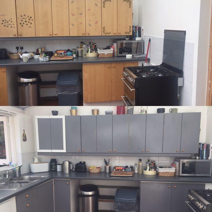 Что было вверху, и что стало внизу. Простая масляная серая краска, которая преобразила старую кухню.
