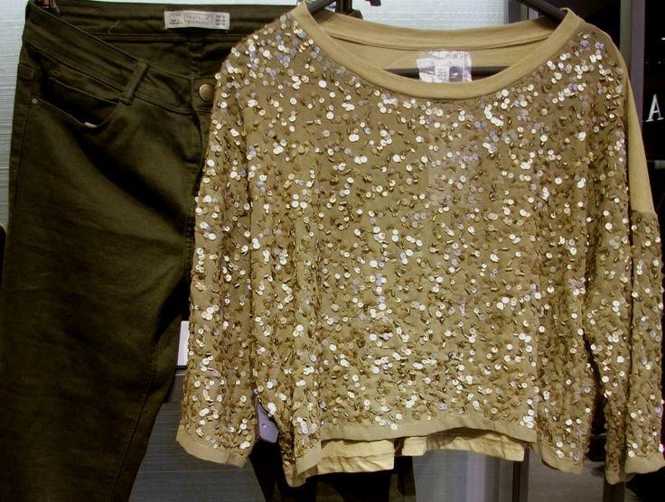 Olijfkleurige broek glittershirt