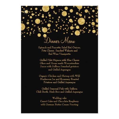 741 best formal wedding invitations images on pinterest convites formal wedding menus gold leaf glitter confetti dot elegant dinner menu card stopboris Gallery