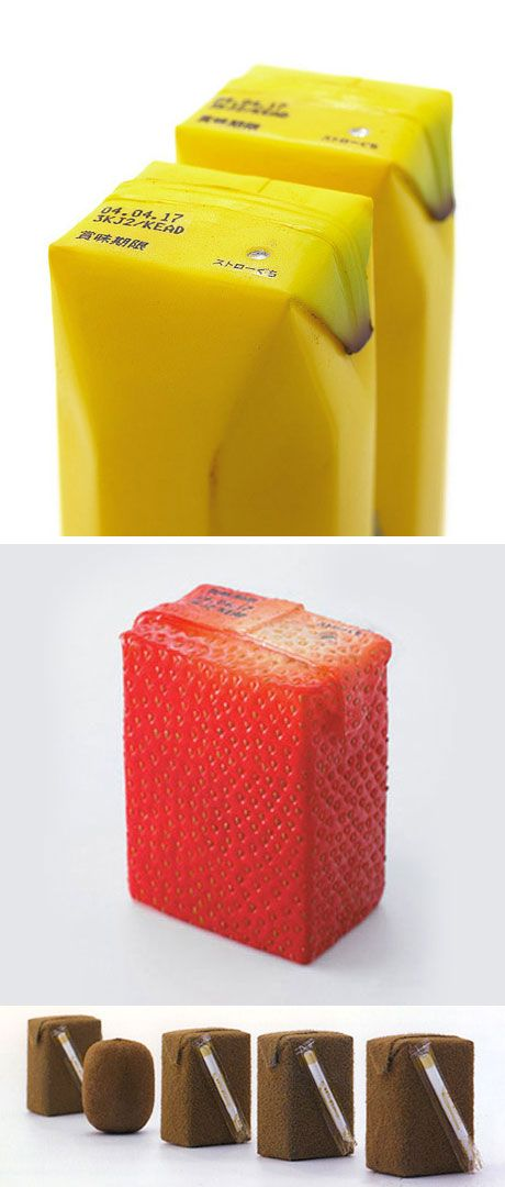 Juice boxes that resemble fruit! by industrial designer Naoto Fukasawa. via mon carnet.