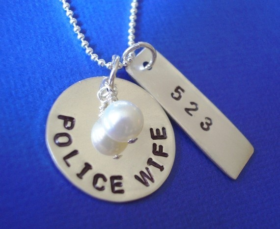 Police Wife Necklace: Police Offices, Badges Numbers, Police Wife, Cute Ideas, Deputy Wife, Army Wife, Sterling Silver, Wife Necklaces, Hands Stamps Necklaces