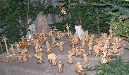 another Scout Nativity, this one carved in wood by 17-year-old Oldřich Drozda in 1945. Note the American Indian teepee, a staple of Czech Scout camping. In the tradition of Czech Nativities, the many tasks and activities of normal life are portrayed