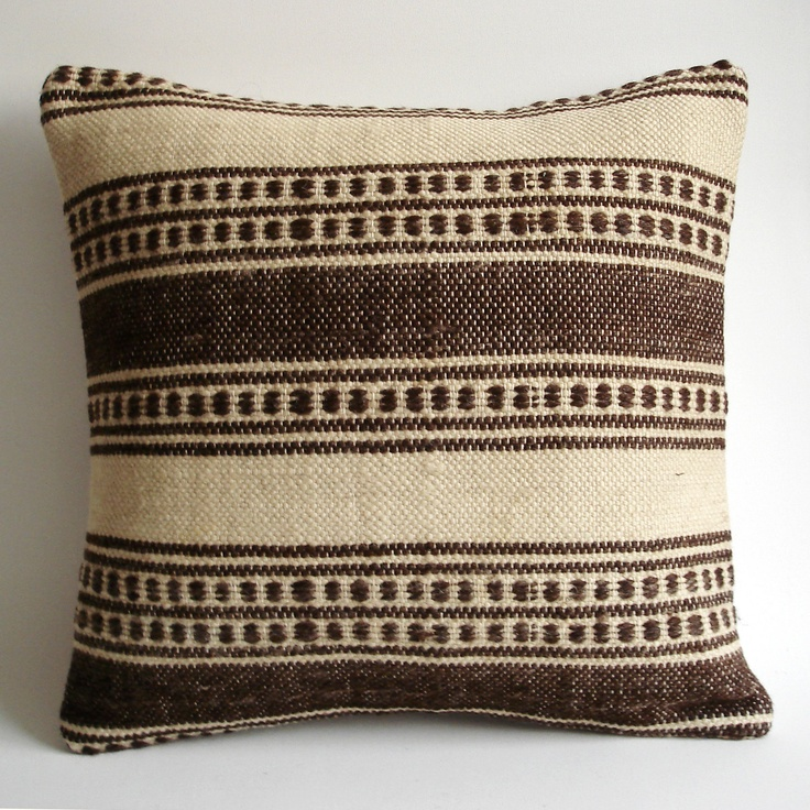 Sukan / Organic Modern Bohemian Throw Pillow. Handwoven Wool Vintage Tribal Turkish Kilim Pillow Cover - 16x16 inch. $169.95, via Etsy.