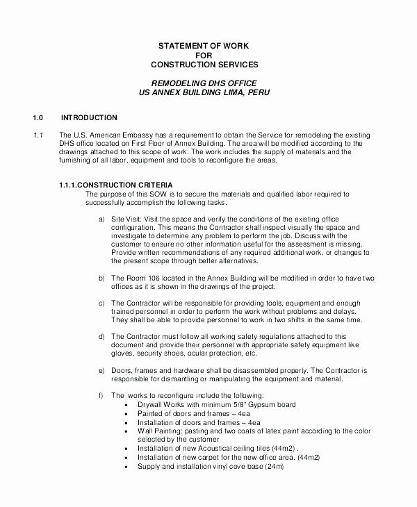 50 Lovely Contractor Statement Of Work Template In 2020
