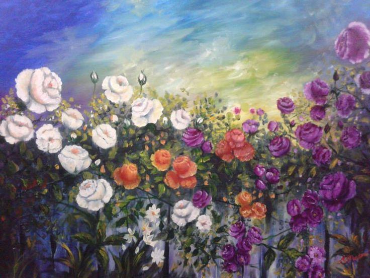 Sarmaşık güller yağlıboya tablo