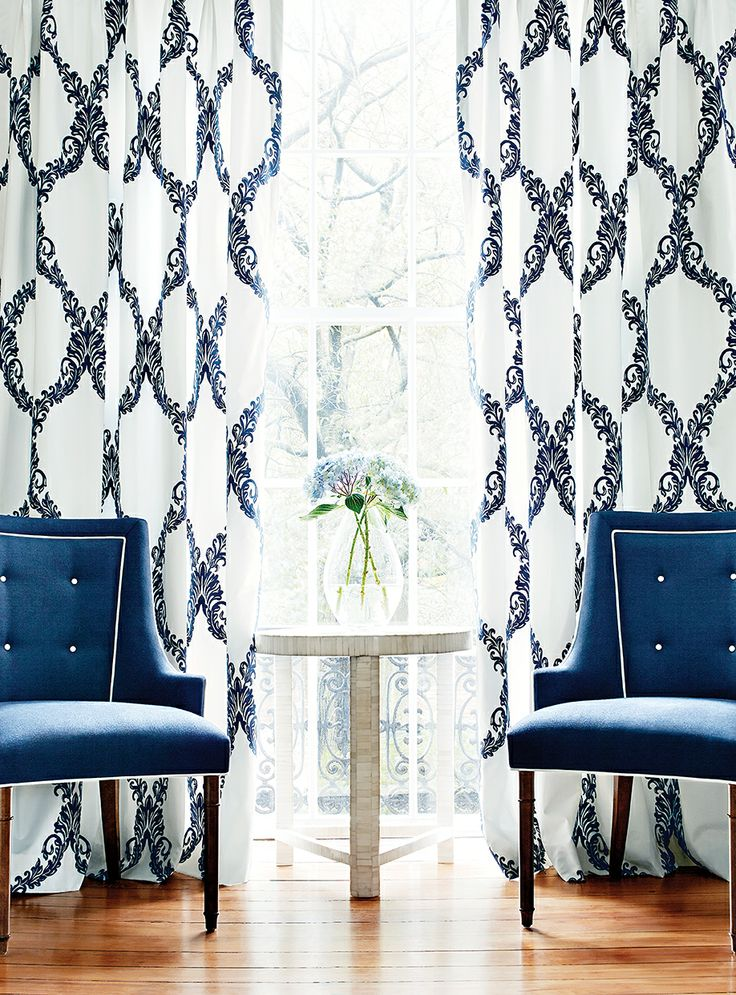 Draperies In Olbia Embroidery #fabric In #navy. Palisades Chairs By  #ThibautFineFurniture In