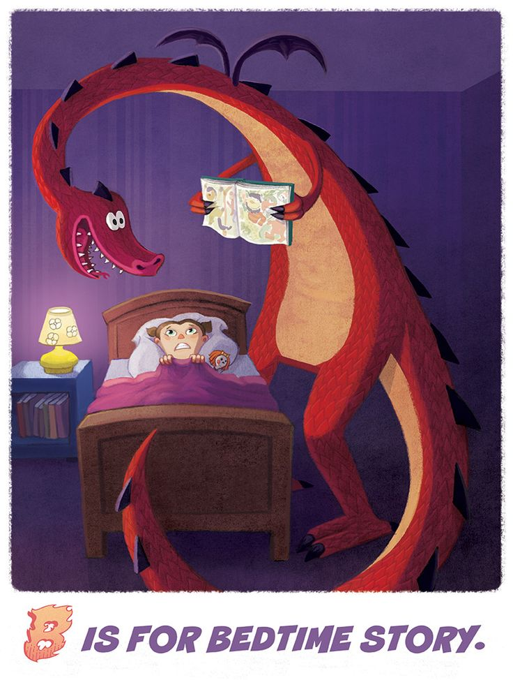 """""""B is For Bedtime Story"""" from my Dragon Alphabet series"""