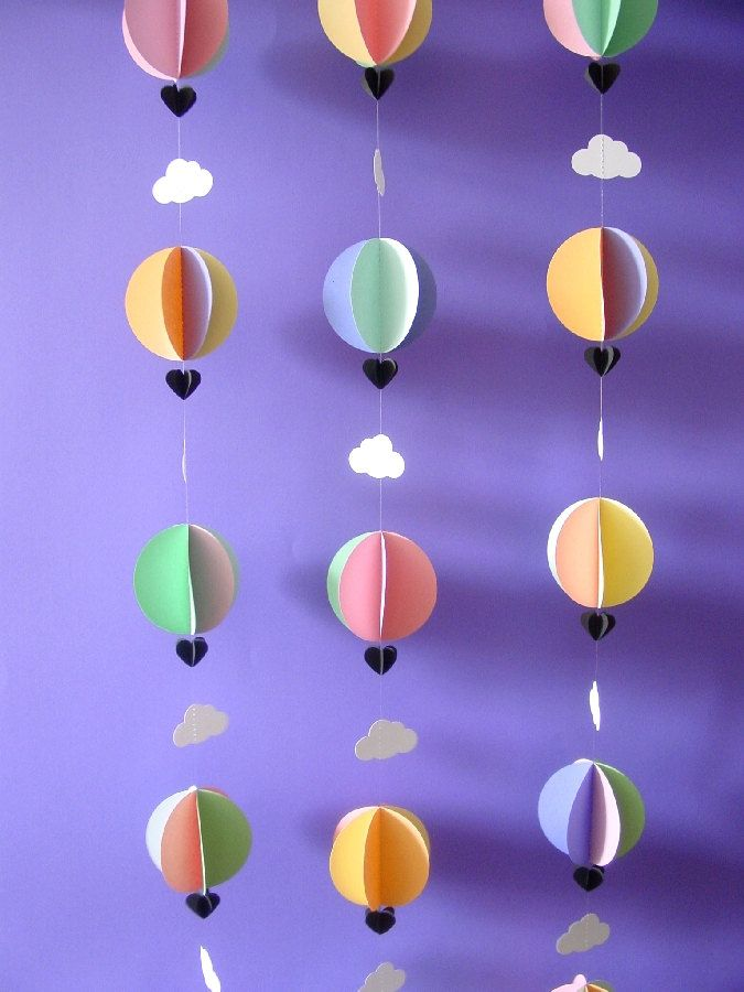 Garland-Hot Air Balloons  Clouds-3D-Pastel Colours-Mobile-Nursery Decor-Baby Room-Kids-Baby Shower Gift-Children-Crib Mobile-Paper. $12.95, via Etsy. youngheartslove