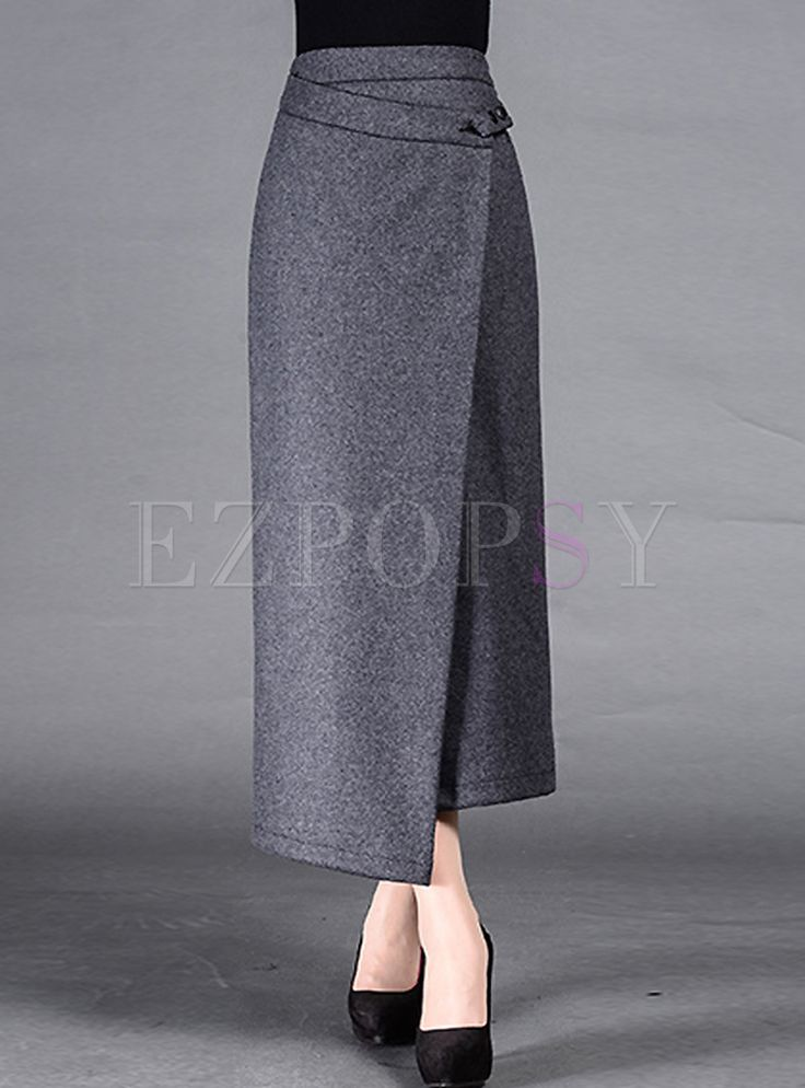 Shop for high quality Retro Asymmetric Patch Long Skinny Skirt online at cheap prices and discover fashion at Ezpopsy.com