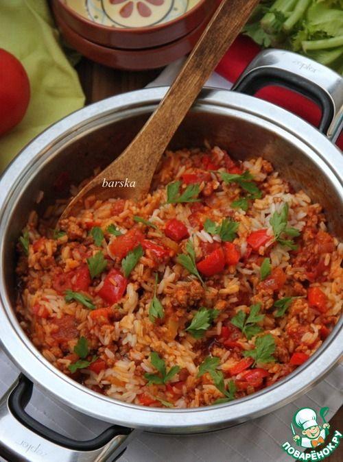 Итальянская сковорода с фаршем, овощами и рисом - кулинарный рецепт
