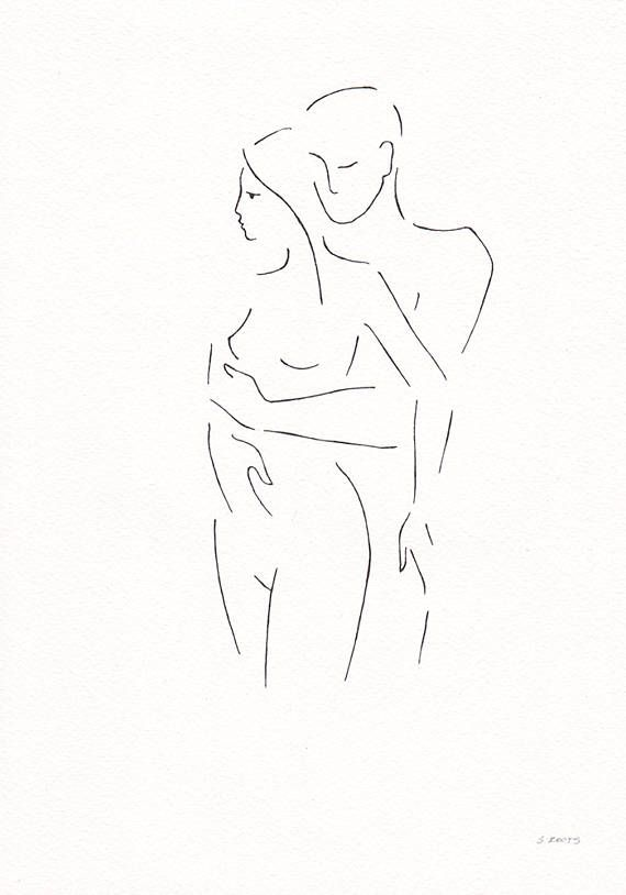 Original couple drawing. Minimalist line art sketch. Black and white art by siret roots.