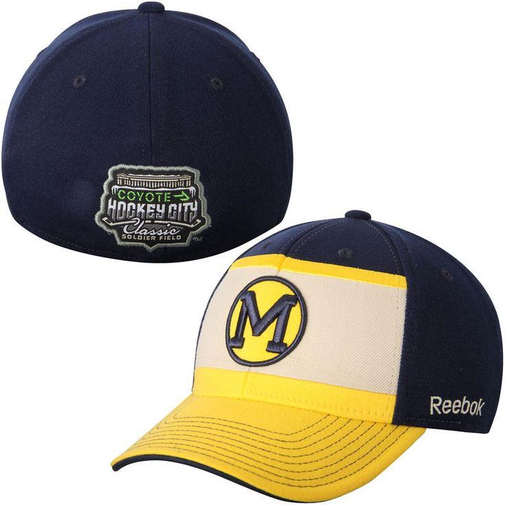 Michigan Wolverines Reebok 2015 Hockey City Classic Flex Hat - Navy Blue/Gold