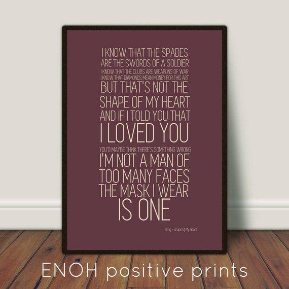 Sting Shape Of My Heart Lyrics Poster Digital Print Lyric Poster Sting Lyrics Music Book