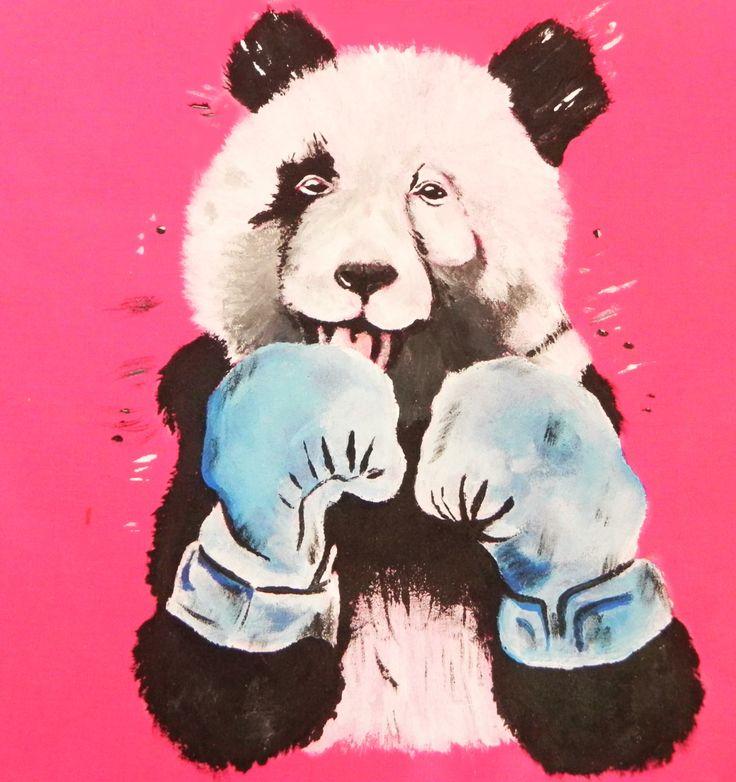 pintura en bolsa de tela oso panda boxeador