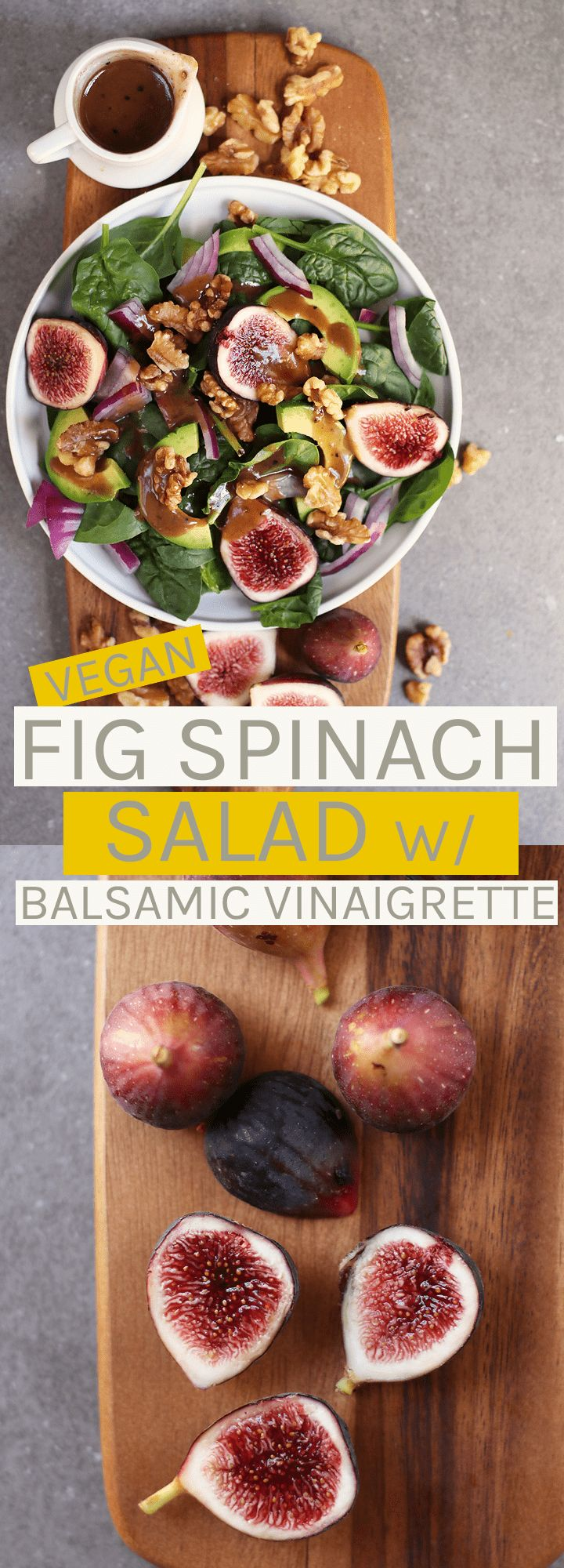 This Spinach Fig Salad is made with fresh figs, avocado, toasted walnuts, and homemade balsamic vina…