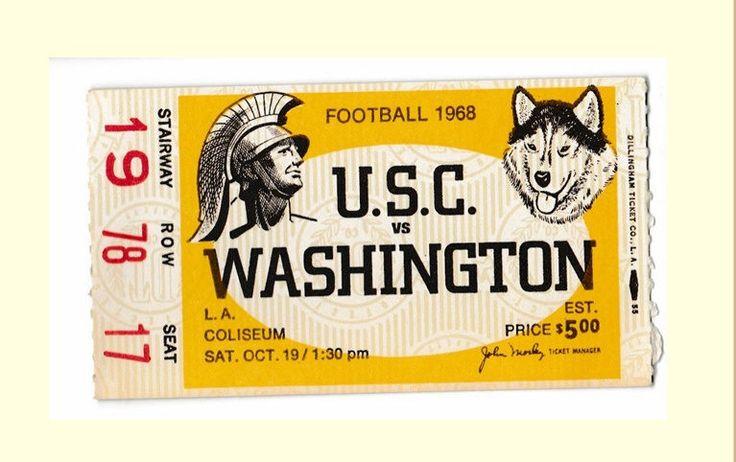 1968 Football Ticket Stub, USC Vs Washington,  O J Simpson, Heisman Trophy year, LA Coliseum, Seat 17 by GospelHymnsVintage on Etsy https://www.etsy.com/listing/537515686/1968-football-ticket-stub-usc-vs