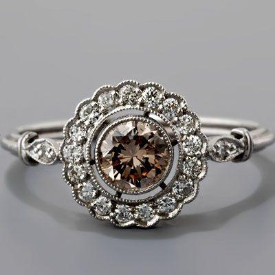 Antique Art Deco Style Platinum .45ct 'Light Cognac' Diamond Cluster Engagement Ring