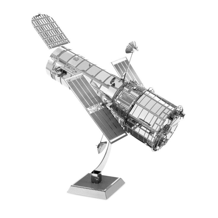 """Fascinations Metal Earth Model: Hubble Telescope MMS093 by FASCINATIONS. Gift Envelope Includes - Unassembled Model - Easy to Follow Instructions. From Steel Sheets to Museum Quality 3D Model. 1 Sheet - Assembled Size 3"""" x 2"""" x 2.5"""". No Glue or Solder Needed. Ages 14+."""