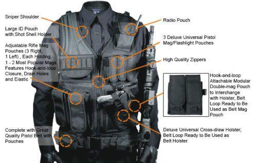 UTG-TACTICAL-MILITARY-VEST-Gear-Swat-Law-Enforcement-Holster-Black-Belt-Hunting