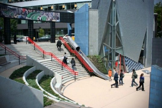 This newly revamped train station in Utrecht complete with a slide is a great example of that philosophy in action. The slide, which has been named the 'Transfer Accelerator', gives travelers a new way to get down the stairs at the entrance to the Overvecht station. Not only is it way more appealing, but it's also a bit quicker.