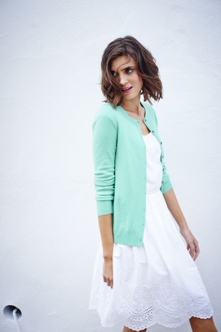I love the white dress paired with the aqua cardigan. So pretty and springy. Boden Spring/ Summer '15