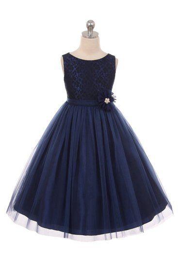 Gisella donker blauw, mooi jurkje met bewerkt lijfje en tule rok