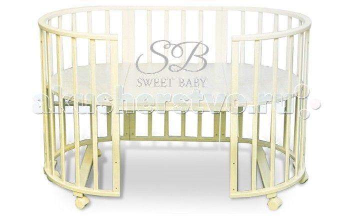 Кроватка-трансформер Sweet Baby Delizia без маятника  Sweet Baby Кроватка Delizia без маятника - это многофункциональная кроватка-трансформер, которая может использоваться по нескольким назначениям. Кроватка способна превращаться из люльки в кроватку, из кроватку в небольшой диванчик, из диванчика в стол с двумя креслами.  Варианты сборки: Круглая люлька (спальное место: диаметр 75см) Овальная детская кровать (спальное место: 125х75см) Овальный диван. Манеж круглый или овальный. Стул и…