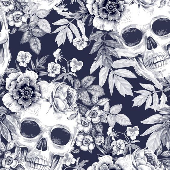 Skulls and flowers