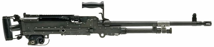 What appears to be an M240 machine gun fitted with a DI Optical DCL-110 sight is mounted on a helicopter.