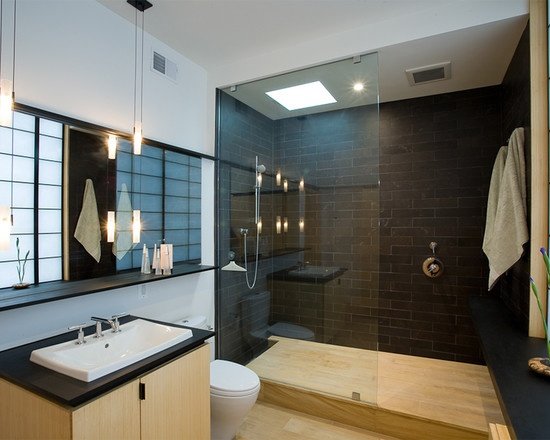 Bathroom Stylish Modern Interior Design Ideas With Black Tile And Roman Shower 60 Vanity Double Sink White Delightful Walk In