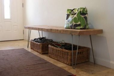 Make your own table or bench with three things (or four if you want to stain the wood). Awesome.