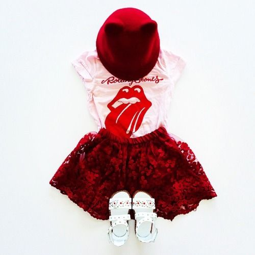 Children's fashion flatlays by Madeleine Theodore. Burgundy lace Zara skirt with Cotton On Rolling Stones rock tshirt. Shoes and hat also by Zara.