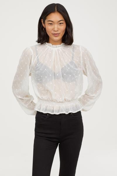 dc0c2c9399b980 Embroidered Chiffon Blouse   Fall/Winter 18'   Blouse, Ruffle blouse ...