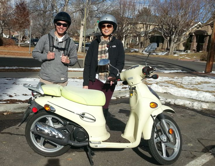 A not-so-wintery winter day in Washington Park. These two also rode their scooters around the Highlands neighborhood of Denver. #Scooterrental #Denver #sightseeing #adventure