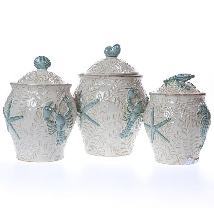 3-Piece Stoneware Canister Set | Collections | Coastal  - Cracker Barrel Old Country Store