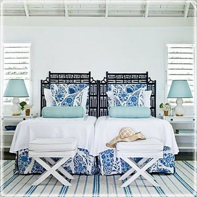 The icy blue really brings a serene feel to the bedroom design!: Guestroom, Beach House, Idea, Color, Blue, Guest Bedroom, Bedrooms, Guest Rooms, Beachhouse