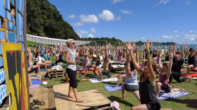 katy carter of katy carter yoga! teaching an outdoor class at splore music and arts festival