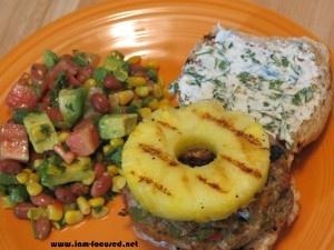 Jerk Chicken Burgers w/ Red Bean Salad