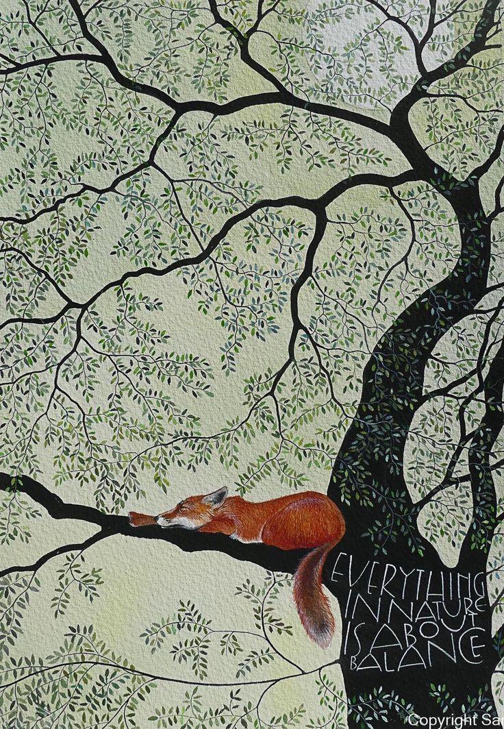 Schöne Naturillustration, alles in der Natur dreht sich um das Gleichgewicht, Fuchs – #alles #artsy #das #der #dreht