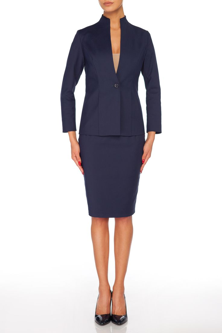Classic essential work wardrobe   Navy blue pencil skirt, neutral jacket and black pumps