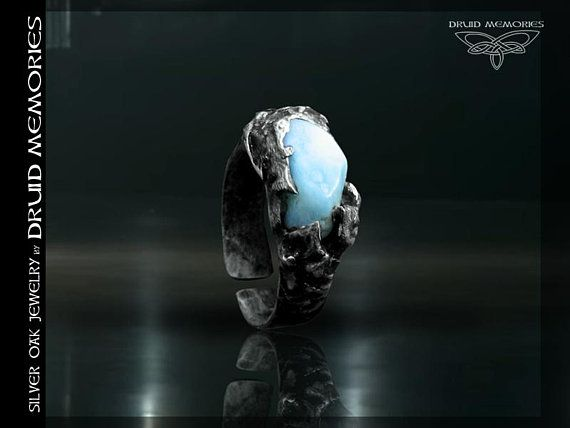 "Genuine larimar ring ""Angel of Atlantis"", druid ring, angel ring, mens of womens ring, onesize ring."