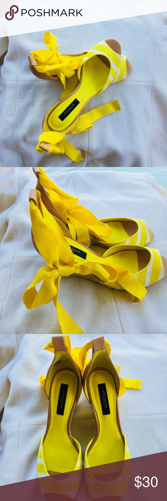 Ann Taylor Yellow Wedges Not worn. NO WEAR & Tear. Please see the small marks on the leather interior soul. Two small marks - but that's all. Clean & Cared for. Anne Taylor Shoes Sandals