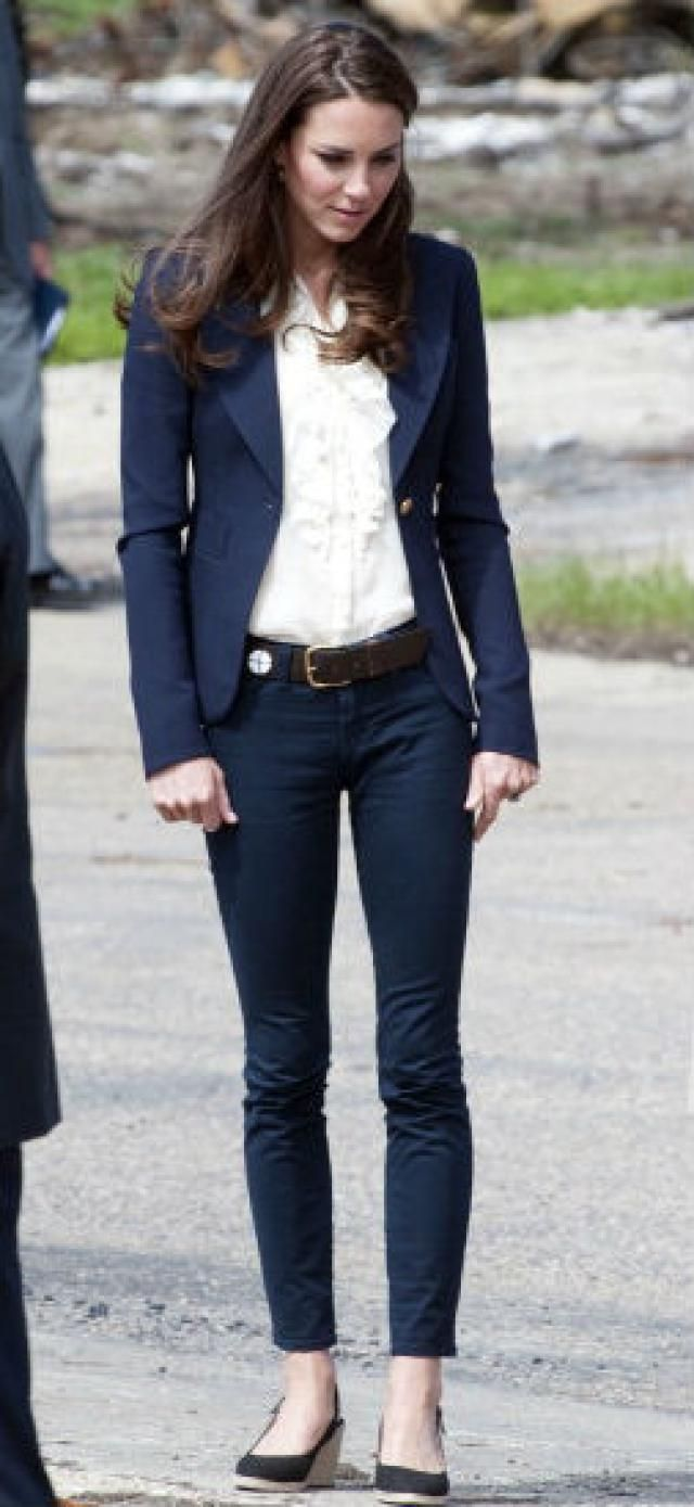 Kate Middleton in dark wash jeans and navy tailored blazer. Description from jeans.about.com. I searched for this on bing.com/images
